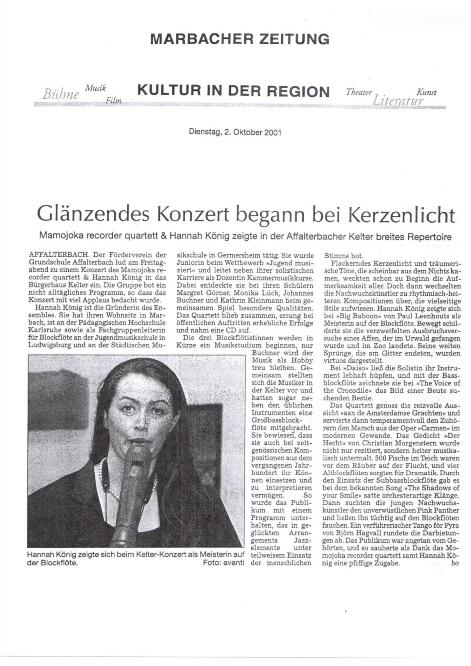 Marbacher Zeitung über Hannah Beate König, Blockflöte